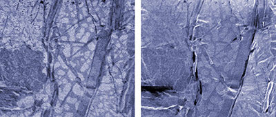 Micrographs of a spot of electronics solder demonstrate how the lithium FIB microscope (left) clearly distinguishes between the lead and tin components. An SEM image (right) captures mainly topological differences. Images show a region approximately 28 micrometers across. credit: Twedt/CNST